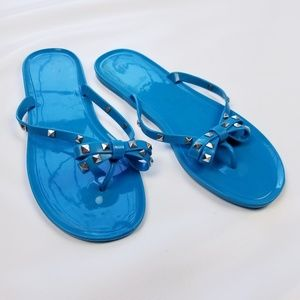 Lane Bryant Turquoise Jelly Studded Bow Sandals